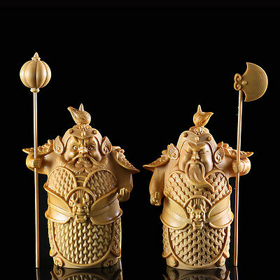 TL009 - 10*4.8*8 CM Carved Boxwood Carving Figurine : Pair of Ancient Warriors