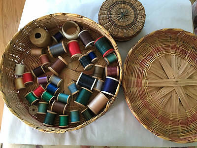Vintage Sewing Baskets & Cotton Threads Wooden Spools