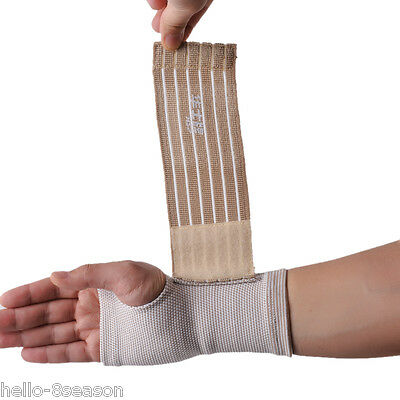 Beige Palm Wrist Hand Support Glove Elastic Sports Bandage Gym Wrap 18x9cm