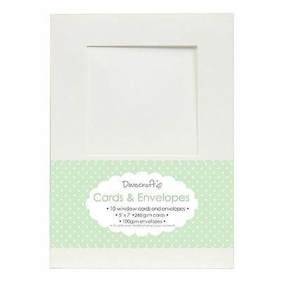 "10x Square Window 5""x7"" Quality Grade Kraft Card Blanks + Envelopes (Dovecraft)"