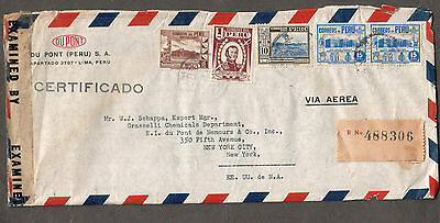 Peru WWII registered cover examined by 1900 via Miami censor DuPont Lima to NY