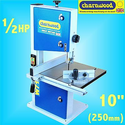 Charnwood W715 250mm 10 Bench Top 1/2HP Woodworking Bandsaw 100mm cutting height