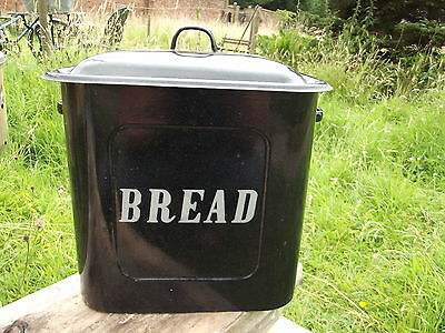 A Nice  Rare Antique Vintage Unusual Black Enamel Bread Bin With White Writing
