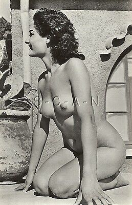 Original Vintage French 1940s-60s Nude Chrome Photo Card- Outdoors- On Knees