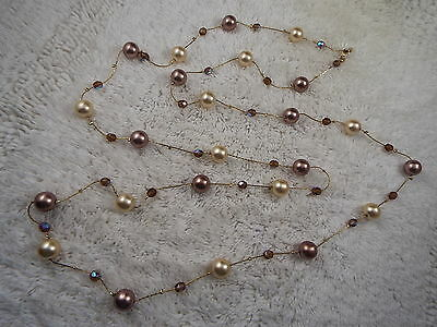 Taupe Champagne Glass Bead Chain Necklace (D46)