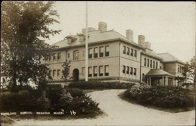 Reading MA Highland School c1910 Real Photo Postcard