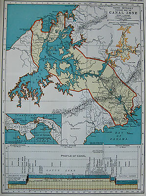 1938 Vintage PANAMA CANAL ZONE Map Maritime Canal Original Map #3060
