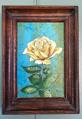 "Vintage Minaiture Oil Painting "" Yellow Rose"" Turqouise Background-Framed"