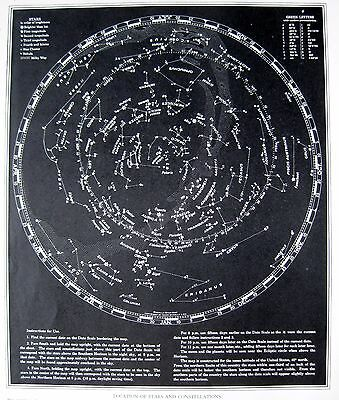 1938 Antique ASTRONOMY Print STAR CONSTELLATION Map Chart Gallery Wall Art 3065