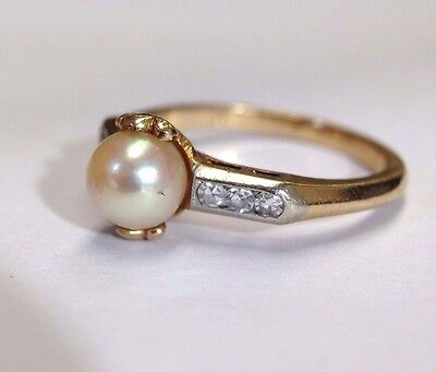 Sweet Antique Edwardian Pearl and Diamond 14K Yellow Gold Ring Size 6