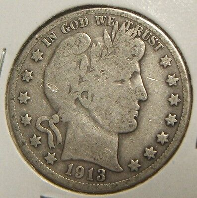 1913-S~~Barber Half Dollar~~Silver Beauty~~Vg