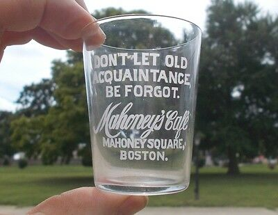 Mahoney's Cafe Boston Advertising Etched Pre Pro Whiskey Shot Glass With Motto