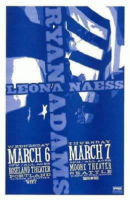 Ryan Adams Leona Naess Pacific Northwest 2002 Concert Poster