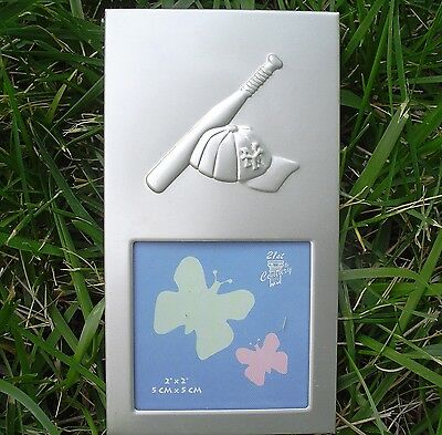 "Baby Photo Frame. 2"" x 2""  5 cm x 5 cm. BASEBALL.  New!"