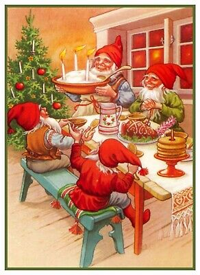 Gnomes Elves Christmas Dinner Jenny Nyström Counted Cross Stitch Pattern