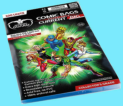 100 ULTIMATE GUARD SIZE RESEALABLE CURRENT Size BIG Comic Storage BAGS Thick