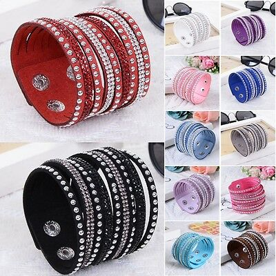 Multilayer Leather Wrap Wristband Cuff Punk Crystal Rhinestone Bracelet Bangle i