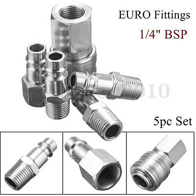 5pcs EURO 1/4'' BSP Air Line Hose Compressor Fitting Connector Quick Release Set