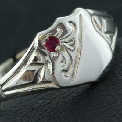 28Sr Genuine Hallmarked Real 925 Sterling Silver Ruby Signet Ring Kids Sz H / 4