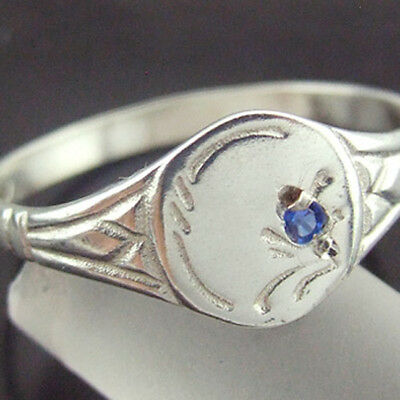 7Sr Genuine Hallmarked Real 925 Sterling Silver Sapphire Solid Signet Ring Sz I