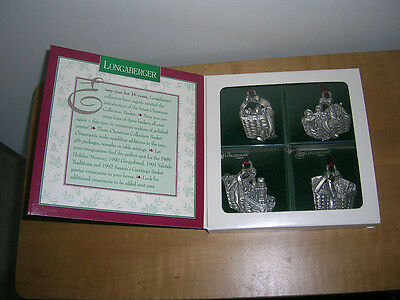 Longaberger Pewter 1996 Christmas Basket Collection - Ornaments or Tie-Ons