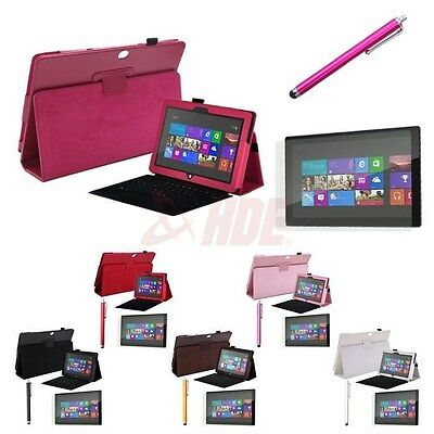 "For Surface RT2 10.6"" Tablet Case Leather Cover Stand + Stylus Screen Protector"