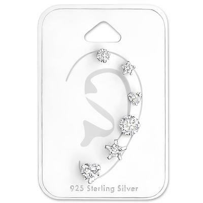5 Piece Crystal Stud Earrings Set - Sterling Silver - Star - Heart -Round - NEW