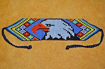 Handmade Glass Seed Bead Loom Work Eagle Bracelet, Colombian Beadwork - Colombia