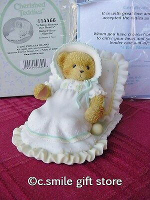 "Cherished Teddies ""A BABY BLESSES OUR HEARTS"" Enesco 114466 MIB w/FREE BUTTON"
