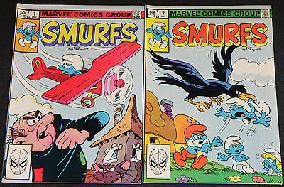 Vintage Marvel Bronze Age SMURFS 2pc Comic Lot FN-VF Cartoon TV/Movie HTF