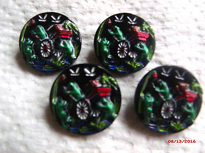 "CZECH GLASS BUTTONS (4 pcs) 22mm -7/8""  FROG PRINCE/   US-C 118"