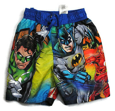JUSTICE LEAGUE Boys Kid Clothes Swim Shorts Trunks Swimwear Super Heros Sz 4
