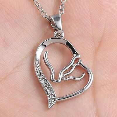 Horse Mother and Daught Silver Crystal Rhinestone Heart Pendant Collar Necklace
