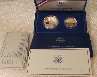 1986-S US Mint~~STATUE OF LIBERTY~~2 COIN SET~~ SILVER DOLLAR PROOF & CLAD HALF