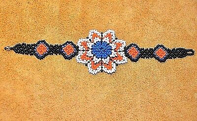 Handmade Glass Seed Bead Loom Work Beadwork Bracelet, Ethnic Flower  Colombia
