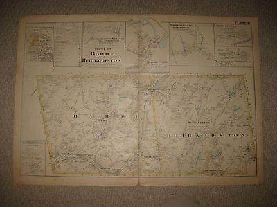 Antique 1898 Barre Hubbardston Worcester County Massachusetts Map Williamsville