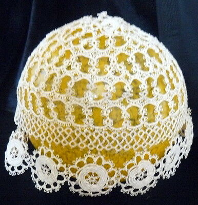 Antique Early 1900s Tatted LACE BABY BONNET CAP * Christening Doll Clothes *