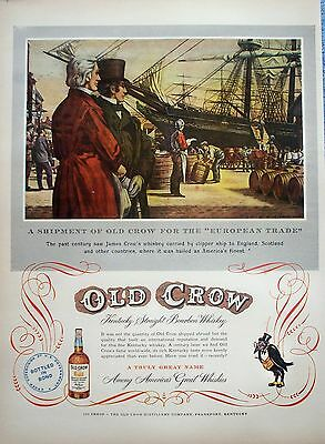1951 Old Crow Whiskey Clipper Ship Barrels Whiskey Americas Finest James Crow ad