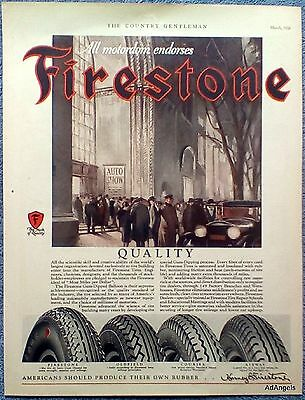 1928 Firestone Rubber Tire Auto Show All Motordom Endorses Busy City Street ad