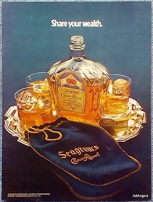 1974 Seagrams Crown Royal Share Your Wealth Silver Serving Tray Bag ad