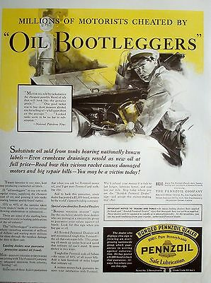 1932 Pennzoil Motor Oil Cheated By Oil Bootleggers Mechanic Gas Station ad