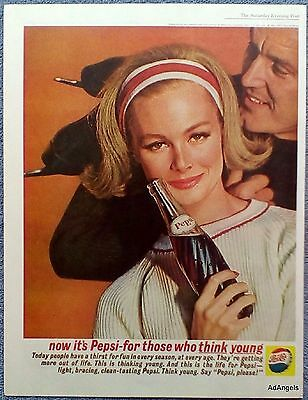 1962 Pepsi Cola Pretty Blonde Lady Man Holding Ice Skates Think Young ad