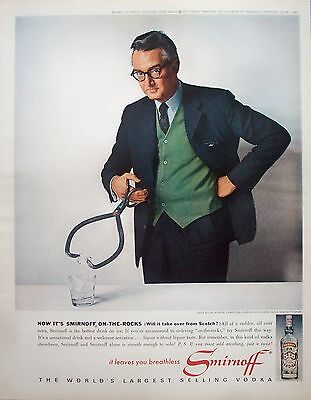 1963 Smirnoff Vodka Steve Allen Author Composer On The Rocks ad