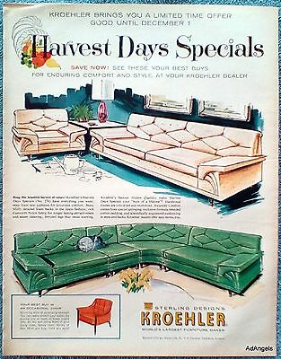 1960 Kroehler Furniture Harvest Days Specials Couch Chair Sectional ad