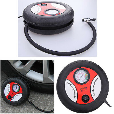 12V Mini Portable Electric Tire Air Compressor Car Auto Inflator 260PSI Pump