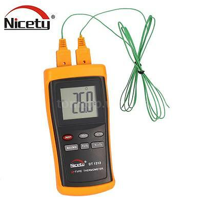 Portable -200°C~1370°C Digital 2-CH Thermometer K Type Thermocouple Sensor L6Y4