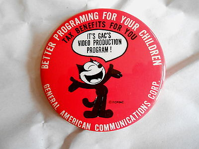 Vintage GAC Tax Benefits Felix the Cat Cartoon Charactor Advertising Pinback