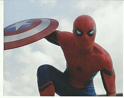 Tom Holland as Spider-man holding Shield Captain America 8 x 10 inch photo