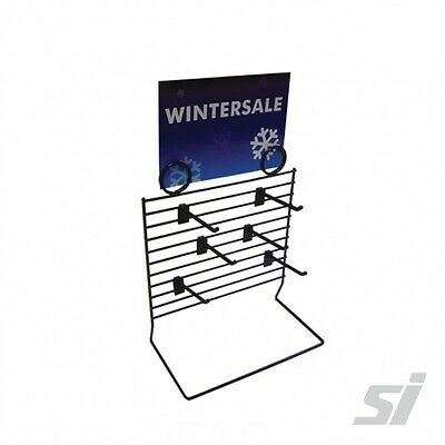 Shop Counter Top Display stand Multi Rack Black with x6 Plastic Hooks