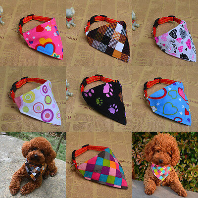 Adjustable Cute Pet Dog Puppy Cat Neck Scarf Bandana with Collar Neckerchief